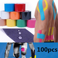 100PCS 5M*5CM Cotton Blend Elastic Bandage Sport Tape Roll Kinesiology Adhesive Muscle Strain Injury Physio Care Strap Sticker