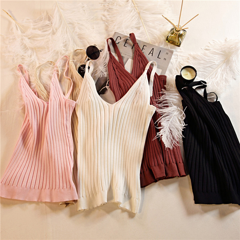 Summer   Tank     Tops   Women's Knitted Solid Color V Neck Crop   Tops   Cami Camisole Female Camisas Mujer