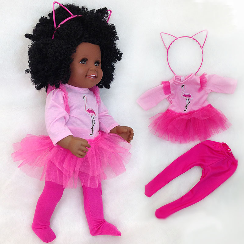 African Black baby Doll 45cm Movable Joint full vinyl silicone reborn baby American Doll for Girls Toy Christmas Gift l.o.l dollAfrican Black baby Doll 45cm Movable Joint full vinyl silicone reborn baby American Doll for Girls Toy Christmas Gift l.o.l doll