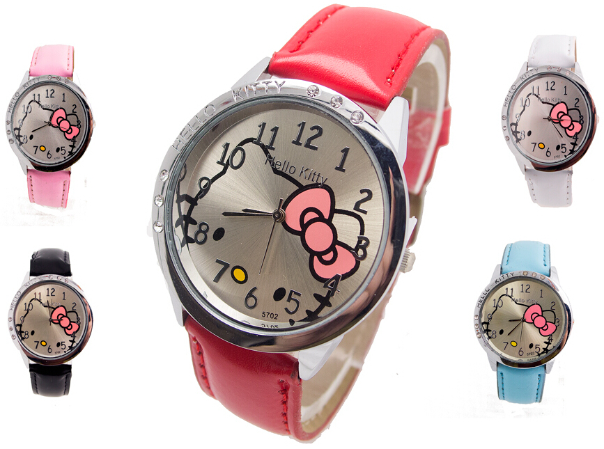 2018 Wholesale New leather wrist watch kids women children girl cartoon fashion hello kitty quartz watch