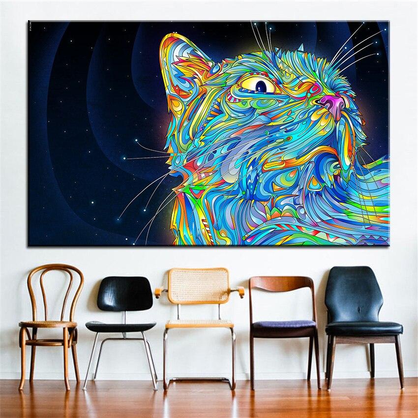 √Impresión de gran tamaño pintura al óleo gato arte pared ...