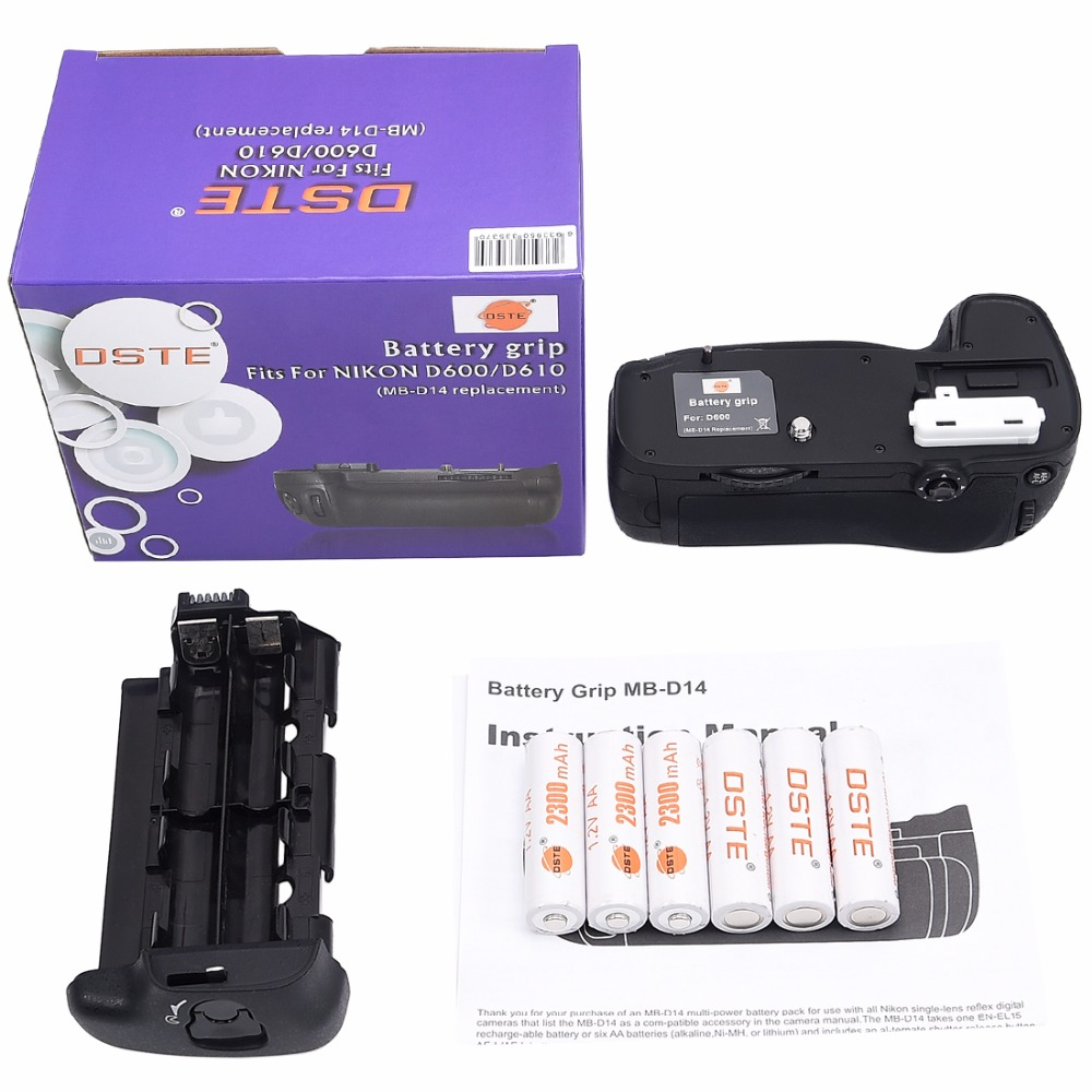 DSTE MB-D14 Battery Grip with 6pcs Rechargeable Batteries NI-MH AA Battery for Nikon D610 D600 DSLR Camera dste 3pcs sl 360 ni mh battery for spectralink pts360 9031 mdw9030p mdw9031 ptb400 ptb710 ptb810 ptb81650