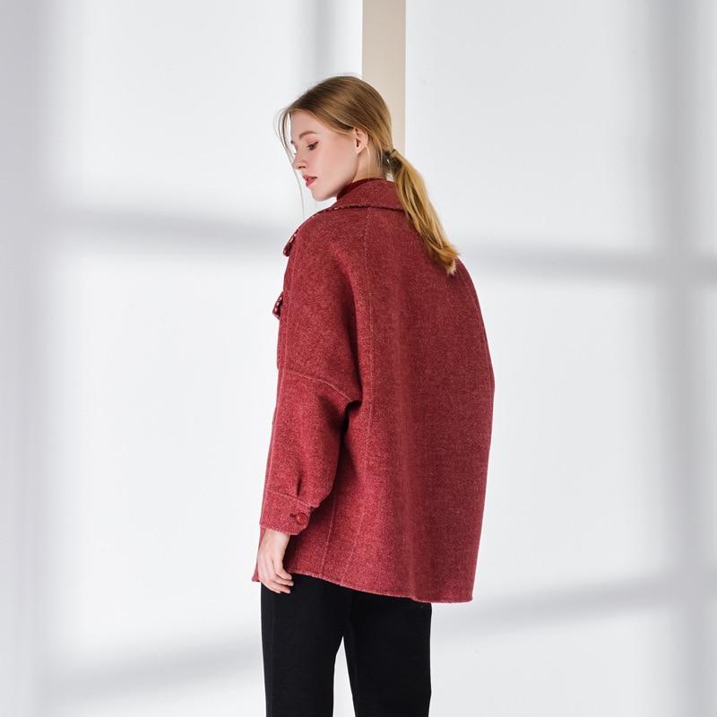 Streetwear À La Arrivée De Pied Rouge Main Mode Vêtements side Laine En Poule Femmes Rouge Double Féminin coffee Manteaux Outwear Nouvelle Pardessus wFqTvzF