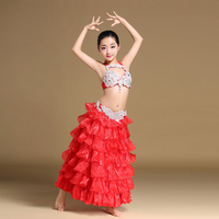 Kids Stage Performance Belly Dancing Clothes Oriental Outfit Girls Belly Dance Costume Set for Children Bra Belt and Skirts