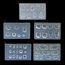 DIY Nail Art Silicone Mold 3D Cat Rabbit Wing Square Resin Jewelry Tools