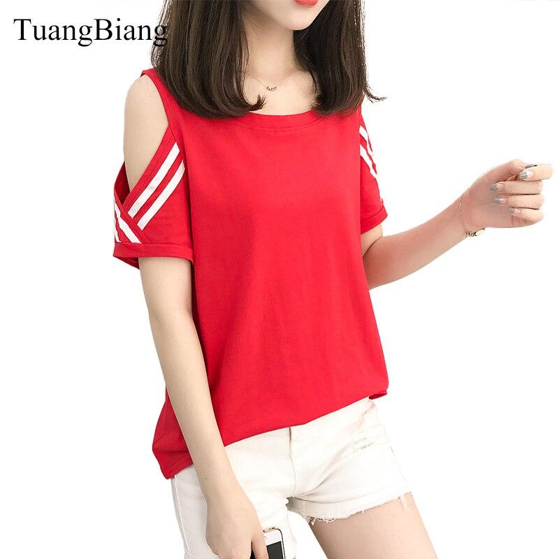Tuangbiang новые летние футболка с короткими рукавами женщина с плеча О-образным вырезом футболка в полоску футболки Женский однотонный верх ...