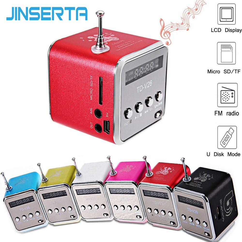 JINSERTA Digital Mini TDV26 Speaker Portable FM Radio Wireless Speaker Sound System 3D stereo Music Surround Micro SD/TF Card lutema wavecube aqua portable digital speaker w fm radio green