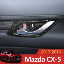 In fibra di carbonio Car Styling Porta Interna Maniglia Ciotola di Copertura Trim Protector Sticker Per Mazda CX-5 CX5 CX 5 2017 2018 2019 Accessori