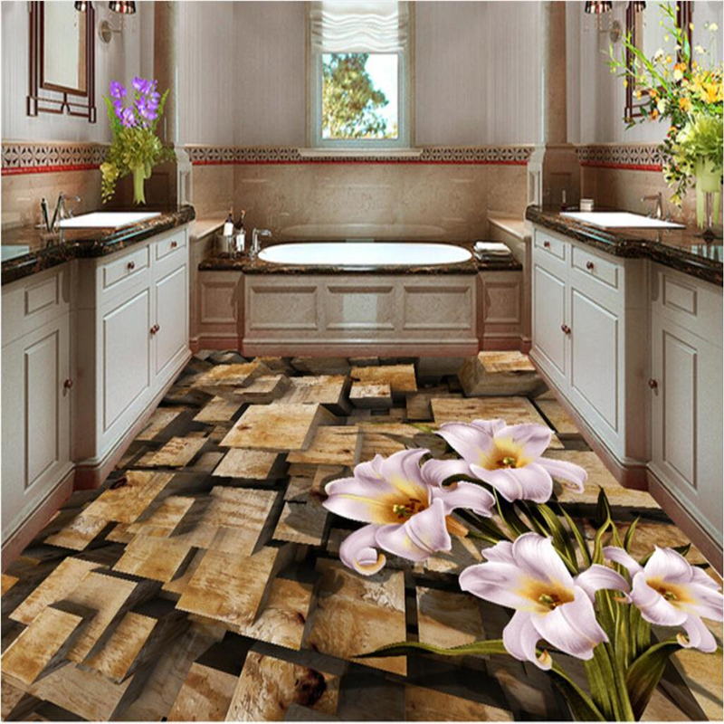 beibehang Customize any size fresco wallpapers Stereo Wooden Pile Floor wallpaper for walls 3 d papel de parede 3d beibehang walking cloud 3d floor tile tile customization large fresco pvc thick wear resistant floor cover papel de parede