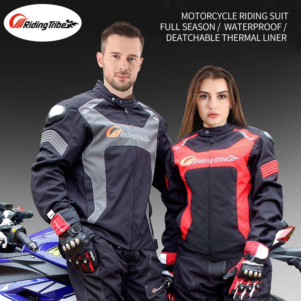 Équitation tribu Moto Couple costume veste pantalon hiver chaud imperméable Moto course armure de protection quatre saisons vêtements JK56