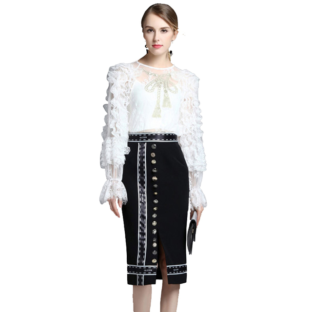 Designer Runway Suit Set 2017 High Quality New Women Ruffles Lace Embroidery Blouse Buttons Skirt Two Piece Set Women SAD851
