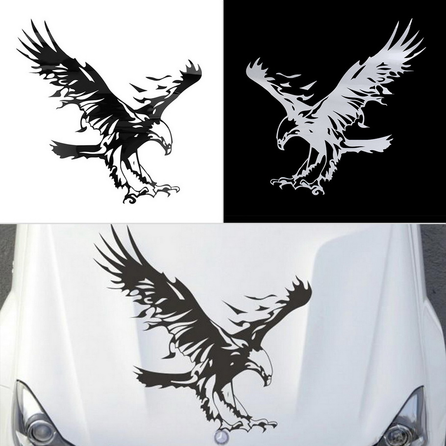 Funny Eagle Pattern Reflective Material Car Stickers Car Engine Hood Decal Emblem cool car styling hot selling&high quality