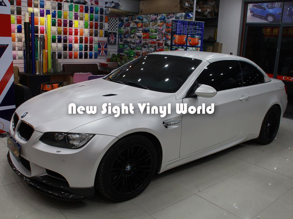 Premium Satin Pearl White Wrap White Satin Pearl Vinyl Roll Air