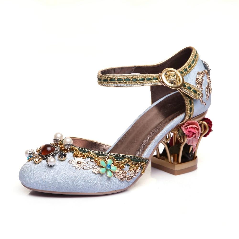 Krazing 냄비 2018 새로운 패션 브랜드 신발 럭셔리 큰 크기의 꽃 진주 하이힐 여성 펌프 파티 결혼식 크리스탈 인과 신발-에서여성용 펌프부터 신발 의  그룹 2