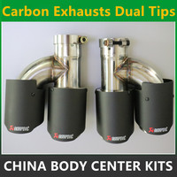One Pair Akrapovic Car Styling Car Carbon Exhausts Dual Tips Universal AK Carbon Dual End Muffler