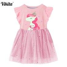 VIKITA Girls Summer Dress Flare Sleeve Tutu Dresses Kids Unicorn Princess Children Costumes for Cotton Clothes