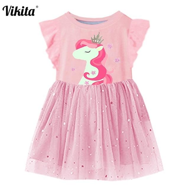 64cd23304e499 VIKITA filles robe d été manches évasées filles Tutu robes enfants licorne  robe de princesse enfants Costumes pour enfants vêtements en coton