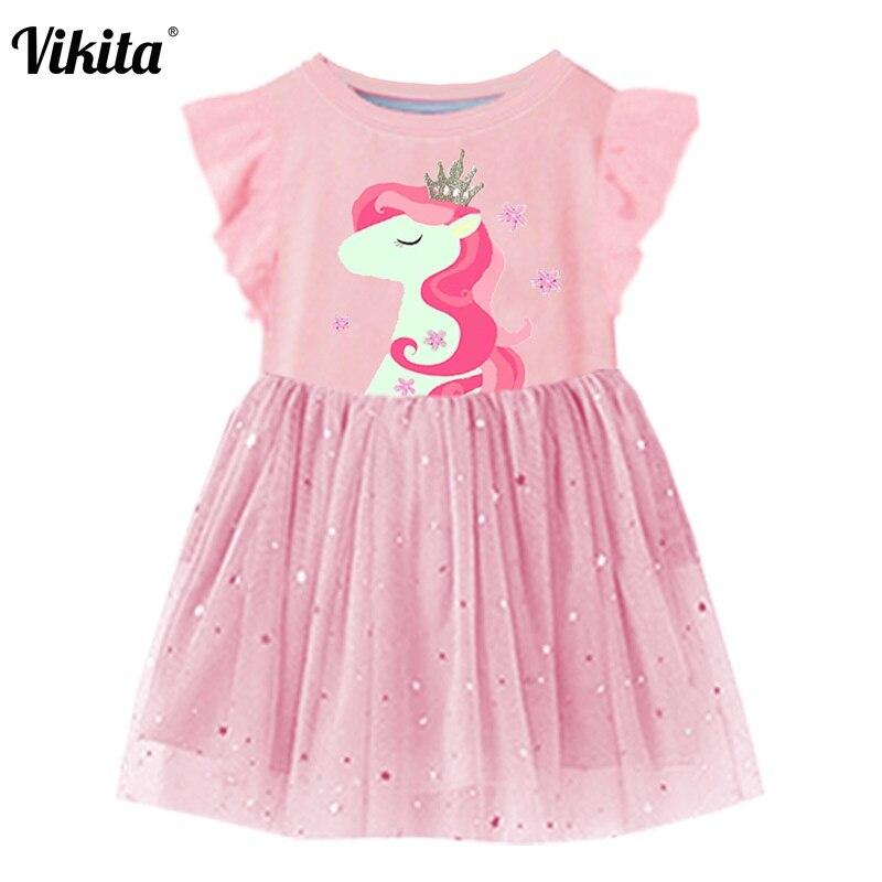 VIKITA niñas vestido de verano vestido manga vestidos niñas Tutu niños princesa unicornio vestido de niños trajes para niños ropa de algodón
