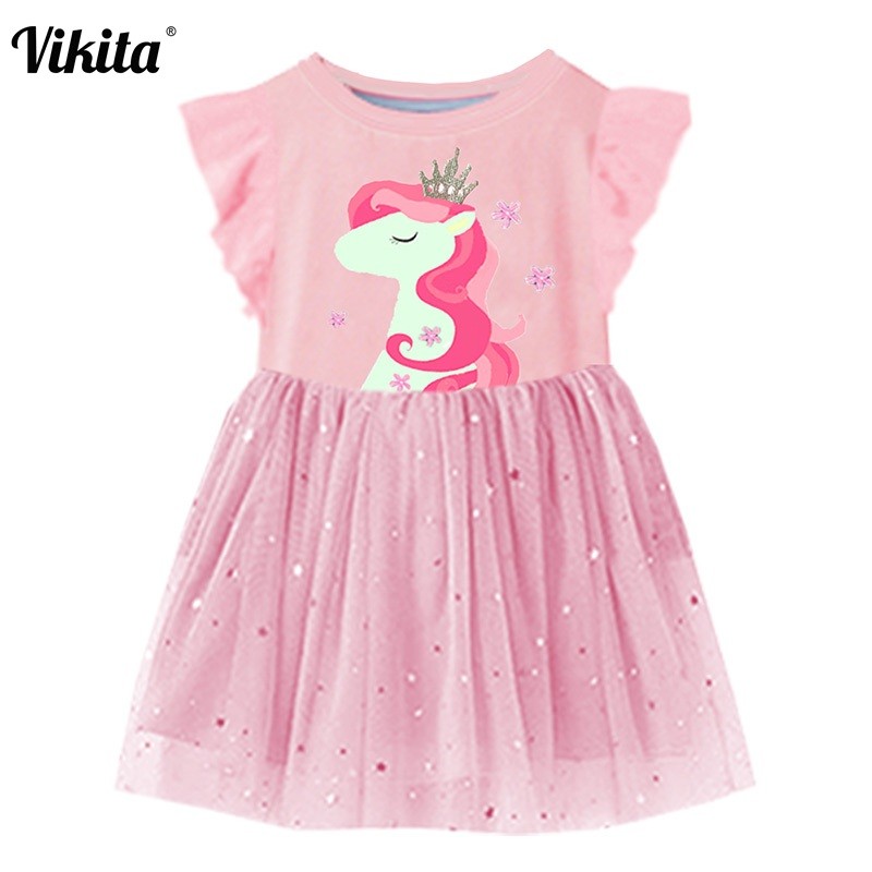 Vestido de verano para niñas de manga acampanada vestidos de tutú para niños vestido de princesa unicornio disfraces para niños ropa de algodón