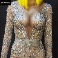 BU110 2018 последнее Стиль Для женщин Bling комбинезон полный 6000 шт. сверкающими кристаллами Stones сексуальное боди Ночной клуб Детский костюм для в