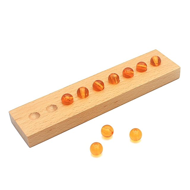 Kids Montessori Teaching Aids 10Pcs Golden Beads Units Wooden Toy Math Learning Decimal System Preschool Baby Toy for Children
