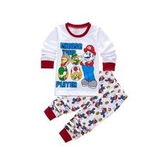 Хэллоуин Супер Марио Аниме Костюмы Супер Марио Коттон Мальчик Установить Длинные рукава летом Baby Аниме домашнего обслуживания пижамы костюмы