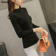 The new sweater female short winter half Korean slim turtleneck thick long sleeved pullover shirt Xnxee