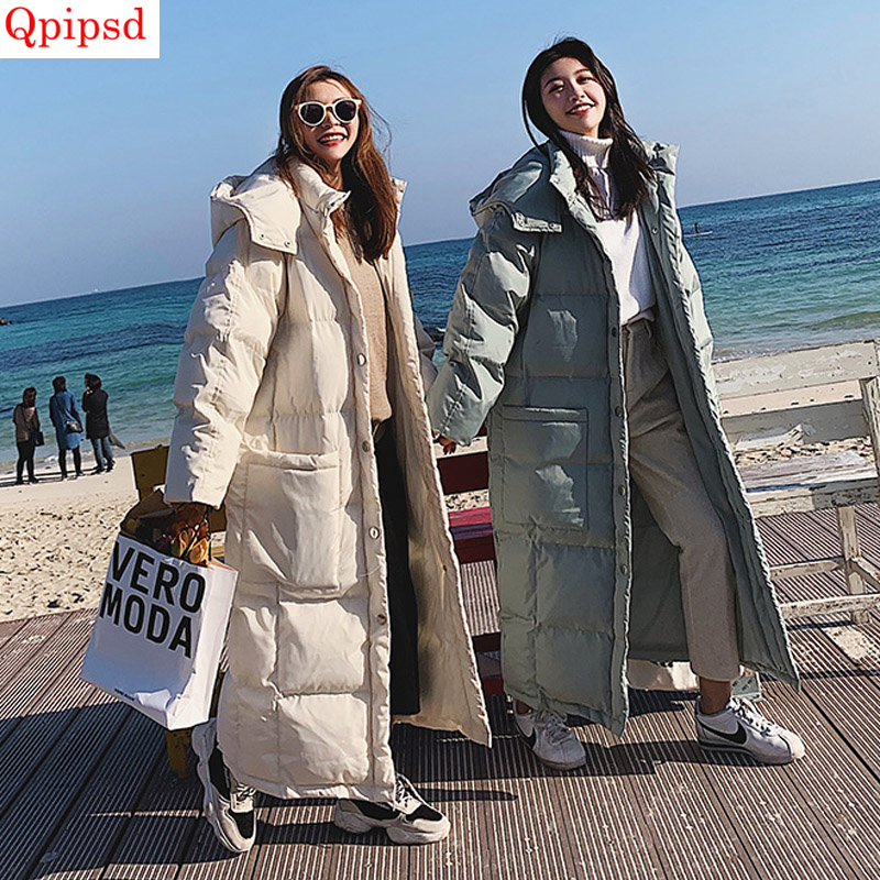 Long Down Cotton Jacket Coat 2019 Winter New Down Parkas Womens Thicken Warm Down Cotton Coats Female Hooded Solid Down Jackets