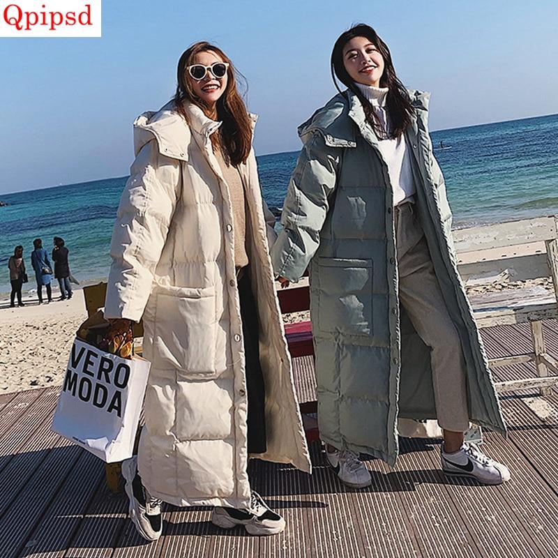 Длинный пуховик, куртка из хлопка, пальто 2019, Зимние новые пуховики, женские утепленные пуховые хлопковые пальто, женские однотонные пуховики с капюшоном