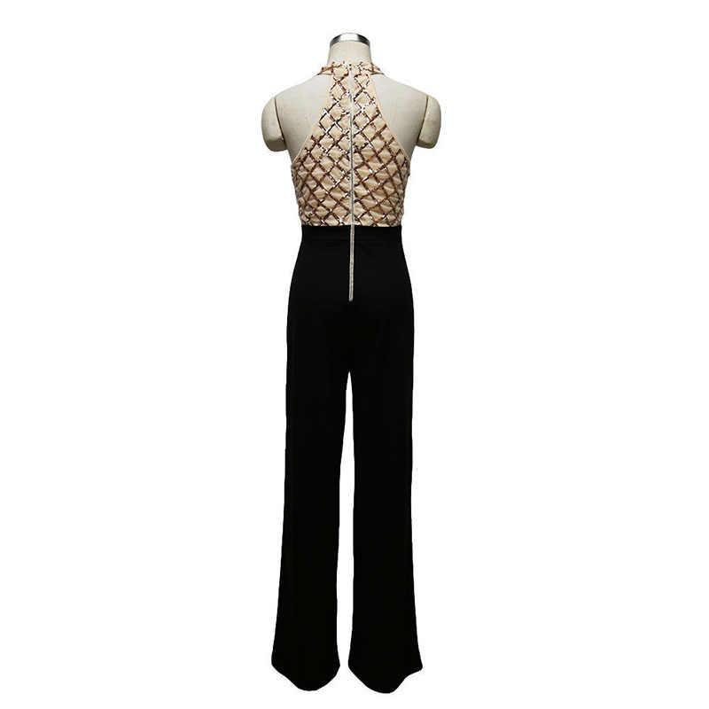 MUXU блесток Лоскутные женские Комбинезон тела feminino combinaison femme КОМБИНЕЗОНЫ Элегантные длинные золотистые блестящие широкие брюки комбинезон