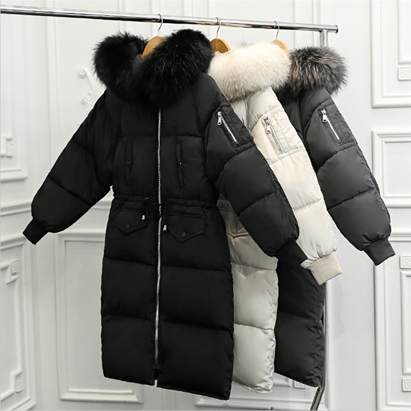 Winter Fashion Casual Thick Long   Parkas   2019 New Add Wool Fur Hooded Zipper Coat Plus Size Slim Cotton Jackets Femmes Outwear XL