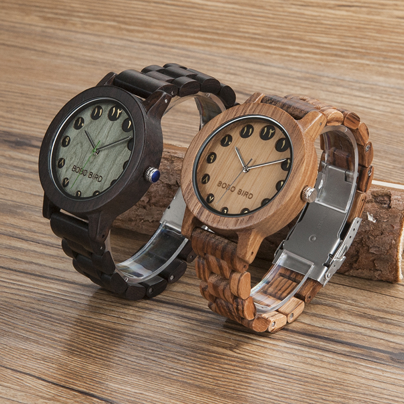 BOBO BIRD Luxury Designer Watches Men Style Wooden Watch Wood Strap Wristwatch with Paper Gift Box relogio masculino Brand Top bobo bird wh05 brand design classic ebony wooden mens watch full wood strap quartz watches lightweight gift for men in wood box