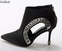Hot Sale Black Sexy Pointed Toe Ankle Boots Bling Bling Crystal Embellished High Heels Boots Woman