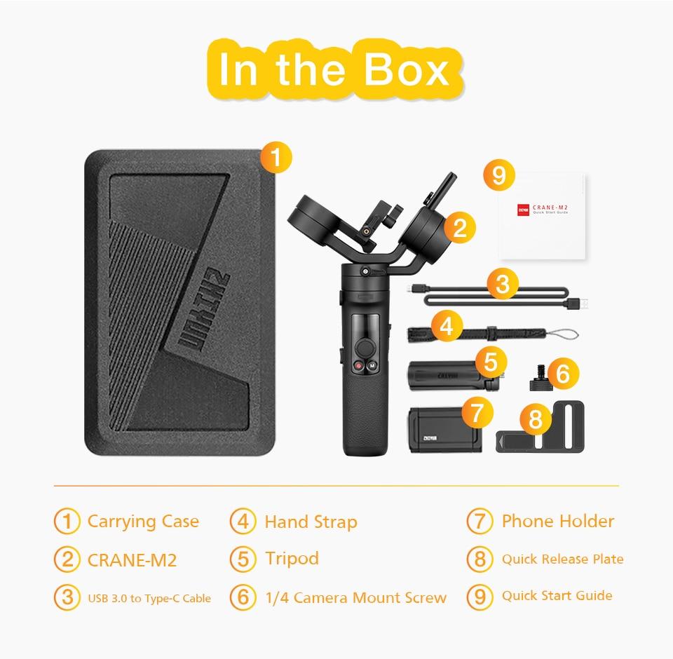 Zhiyun Crane M2 Gru M2 3 Axis Handheld Gimbal Stabilizzatore Portatile All in One per Fotocamere Mirrorless Smartphone Telecamere di Azione - 6