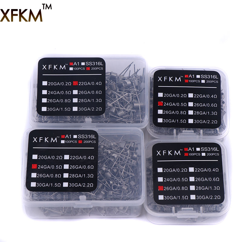 XFKM 100/200 Pcs Electronic Cigarette Rda Atomizer Wick Wire Coil Premade Coil A1 Pre Coiled Resistance Heating Wire Coiling