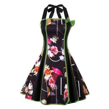 Women Black Floral Summer Dress Straple Cotton Blends Bow Knee-Length A-Line Halter Sleeveless Girls Christmas Sexy Dresses 2018