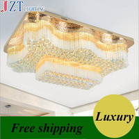 M Best Price Factory Direct Sale Rectangualr Ceiling Light Golden Wave Shaped K9 Crystal LED Lamp Newest Living Room E14 Light