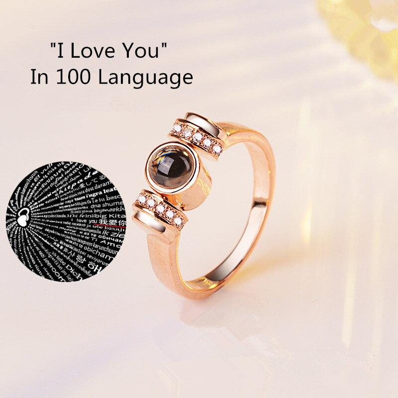 Hochzeit Ring Frauen Schmuck 6-10 Zielsetzung 8 Jahreszeiten Neue Design 100 Sprachen ich Liebe Sie Memory Paar Ringe Splitter/rose Gold Verlobung