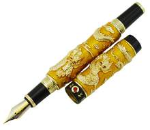 Jinhao Gold Cloisonne Double Dragon Fountain Pen Iridium Medium Nib Advanced Craft Writing Gift for Business, Graduate