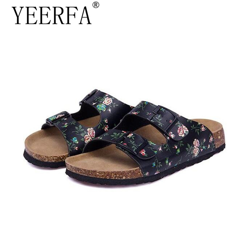 YIERFA Women Shoes Sandals Slippers Summer Lady Flats Sandals Cork Slippers Casual Shoes Mixed Colors Beach Slides Size 35-45 2017 cork slippers women summer beach sandals floral cork slipper flower flip flops silver bringt casual slides shoes flat sweet