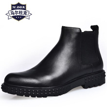 купить Riding Boots male High Quality Genuine Leather short boots shoes mens Chelsea boots retro cowhide cashmere zipper Autumn winter дешево