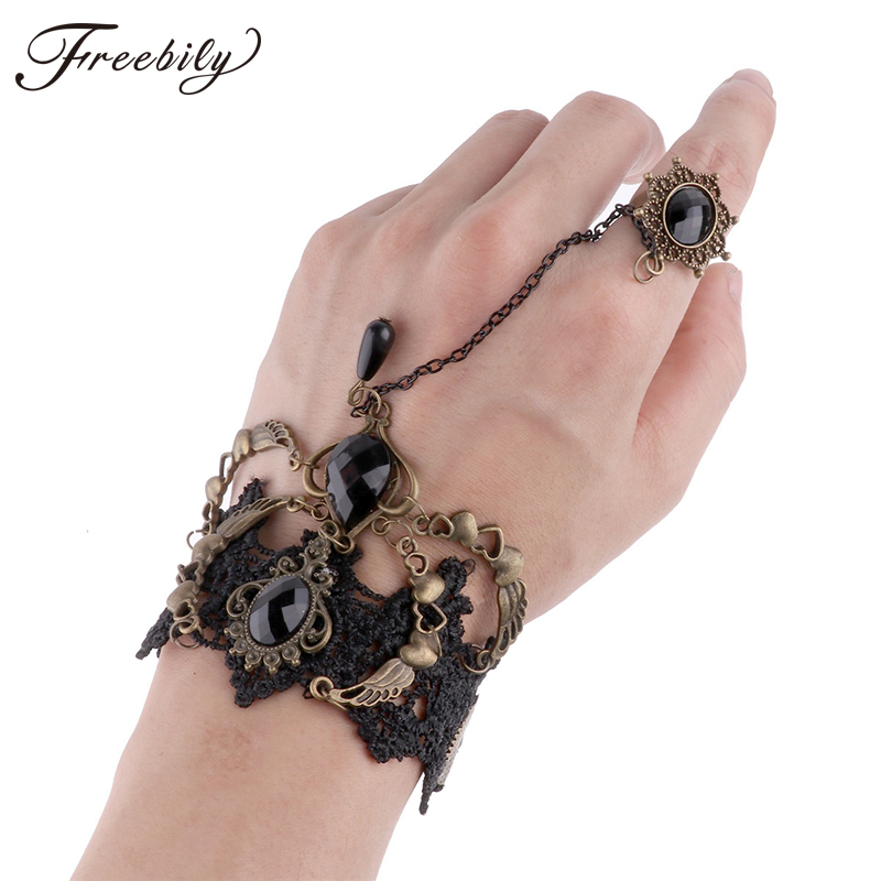 Punk Women Vintage Gear Victorian Gothic Steampunk Bracelet Wristband with Ring Lace Bowknot Wrist Cuff Cosplay Accessories