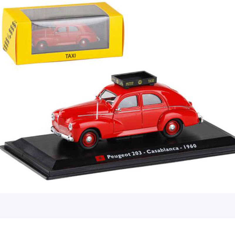 Red Color <font><b>1</b></font>:<font><b>43</b></font> Scale Metal Alloy Classic <font><b>Peugeot</b></font> 203 Casablanca 1960 Cab Taxi <font><b>Car</b></font> <font><b>Model</b></font> Diecast Vehicles Toys F Collection Gifts image