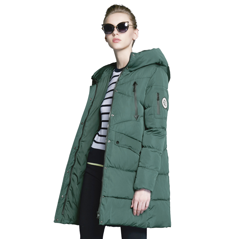 ICEbear 2017 Winter Women's Park Thick Warm Jacket with Long Sleeves Fashion Winter Coats with Hood for Leisure Coat 16G6155D scuwlinen 2017 winter coat women vintage slanting lapel handmade plate button loose wadded jacket long casual cotton padded w13