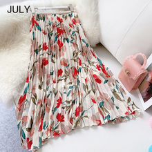 JULY Elegant Long Chiffon Print Skirt Women 2019 Spring Summer Fashion A-line Ladies High Waist Pleated Female