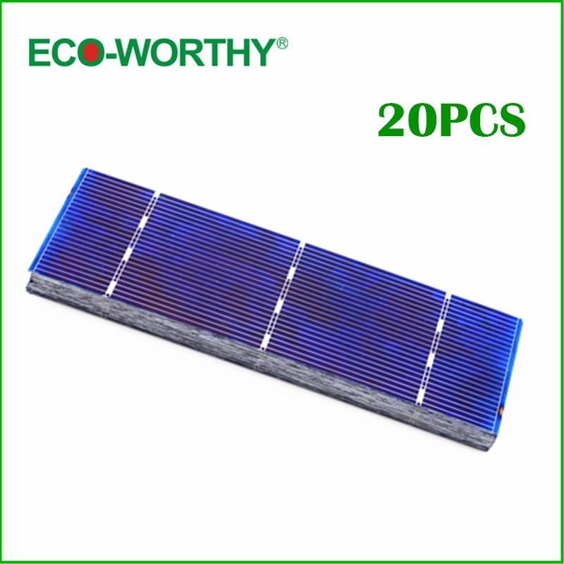 20pcs Poly Solar Cell 156x39mm Polycrystalline Solar Cells High Efficiency 1W Per Piece Solar Module for