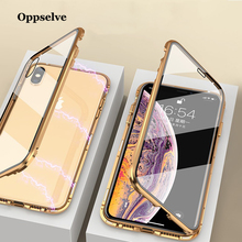 Oppselve Magnetic Case For iPhone XR XS MAX X 8 7 6 6S Plus Double Sided Glass Metal Tempered Magnet Cases Cover Capinhas