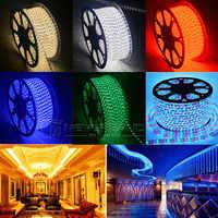 220 В светодиодный светильник IP67 водонепроницаемый 100 м 60 светодиодов/метр ультра яркий гибкий 5050 SMD LED открытый сад домашняя полоса веревка с...