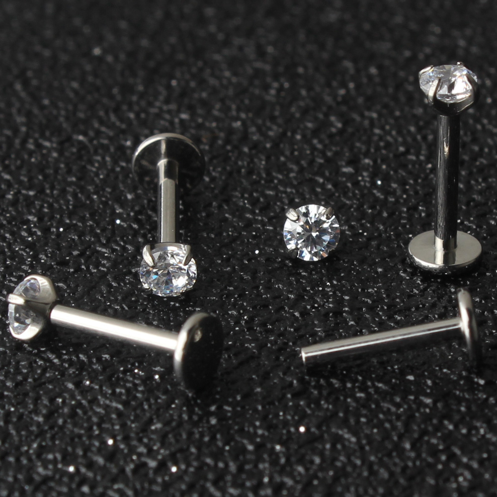 30pcs lot Crystal Zircon Titanium G23 Labret Lip Piercing Ear Cartilage Tragus Stud Ring Body Jewelry