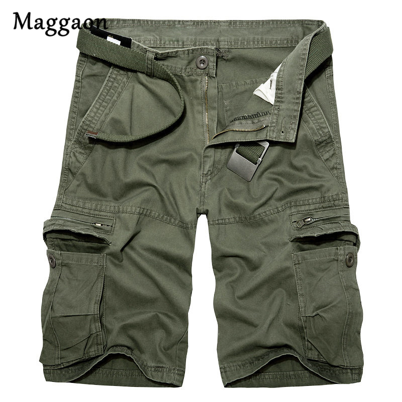 2018 Mens Casual Solid Color Summer Shorts Military Camou New Clothing Shorts Homme Cotton Cargo Knee length Minutes Shorts ...